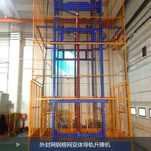 室内安装外封钢网双体导轨式升降平台